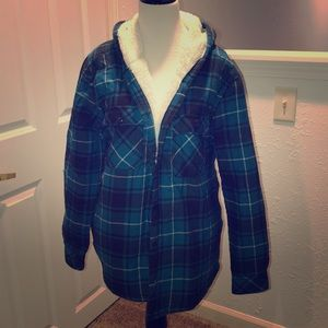 Plaid fuzzy lined jacket